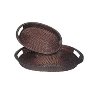 Oval Rattan Tray in set of 2