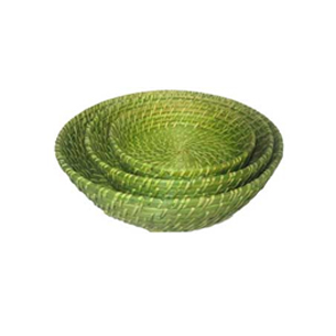 Round Rattan Bowl in set of 3