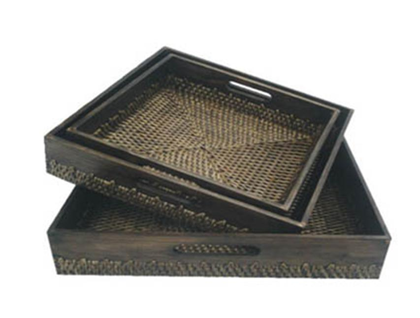 Square Wicker Tray with handle