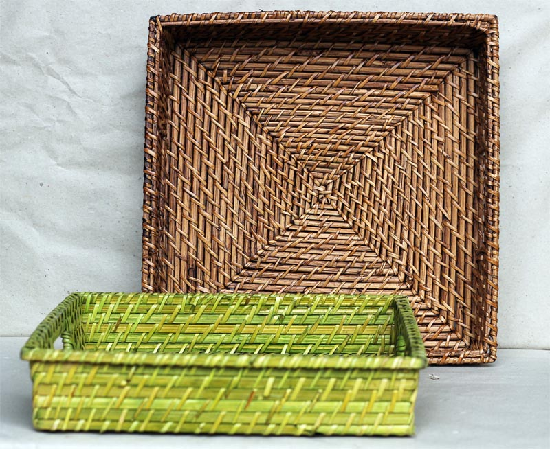 Square Rattan Tray with handle