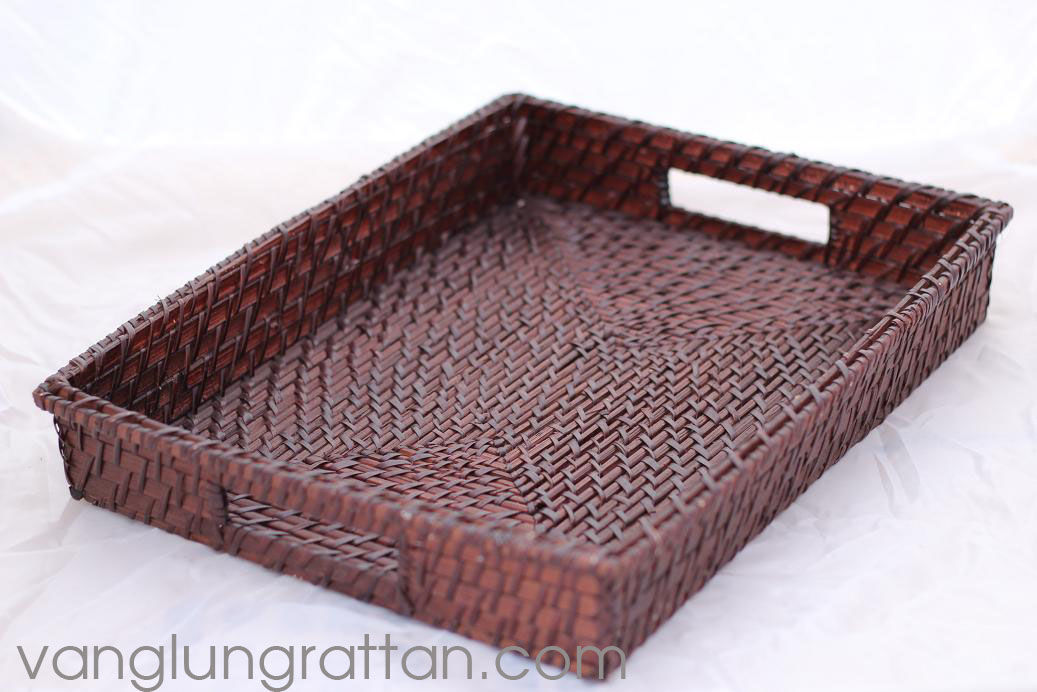 Rectangular Rattan tray with handle 38x28xH6cm