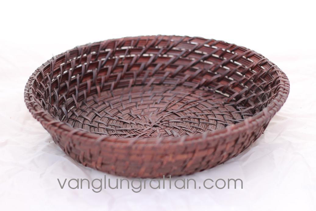 Round basket - chocolate color - Rattan Bowl