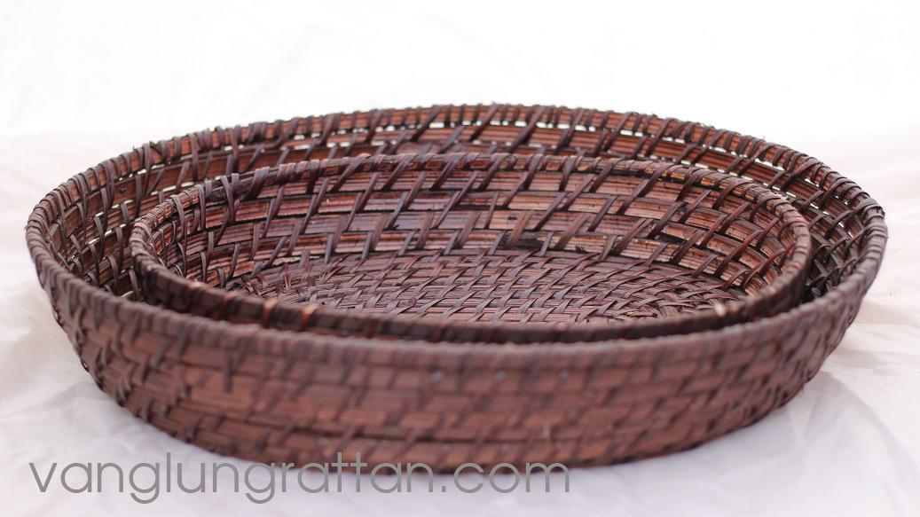 Oval rattan basket - chocolate color