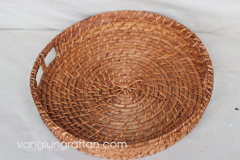 Round Rattan Tray with handle - D35xH5cm