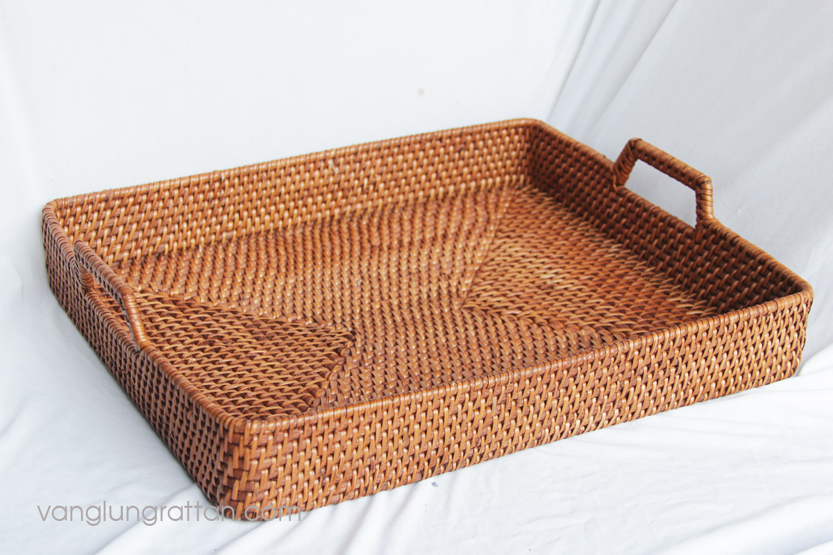 Rattan Serving Trays with holder