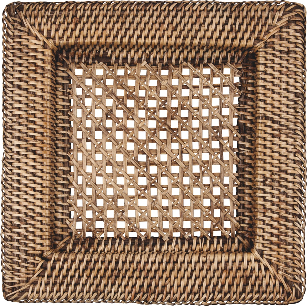 Square rattan charger plate with High quality