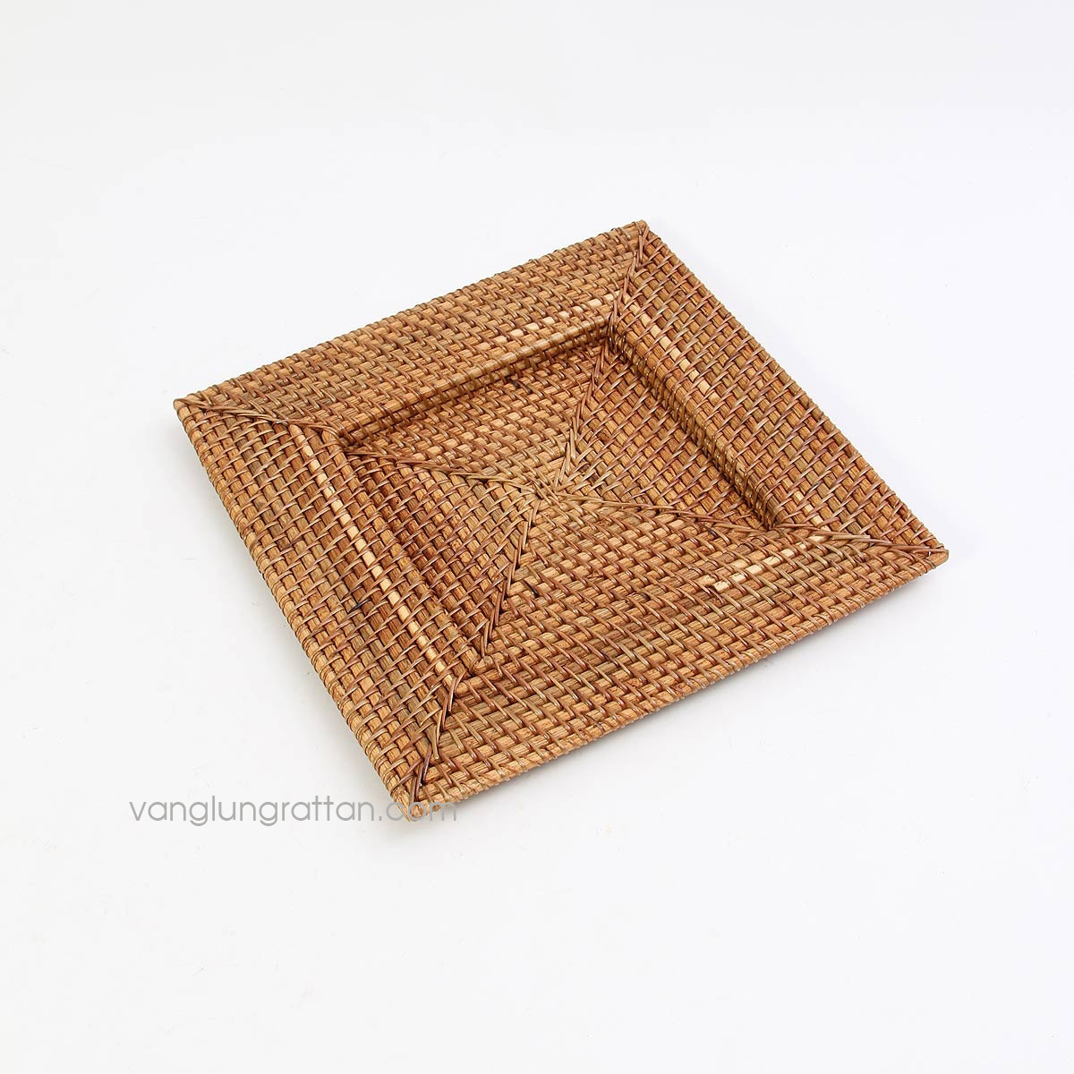 Square bamboo rattan charger plate 33x33xH2cm