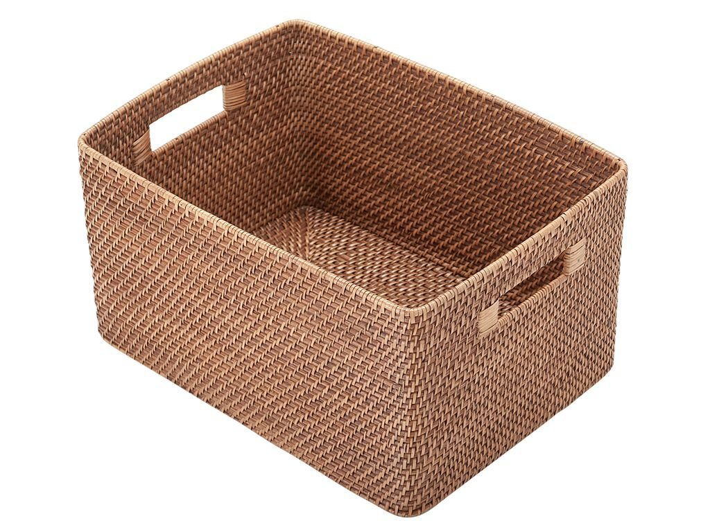 Storage Baskets With Handle Natural Rattan Belly Basket