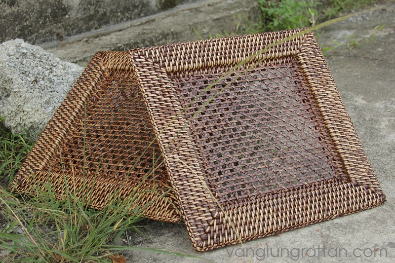 Square rattan charger plate with high quality 33x33xH2cm & Square rattan charger plate with High quality - Vanglungrattan.com